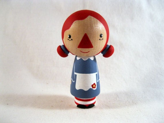 Kokeshi Raggedy Ann Peg Doll Collectable