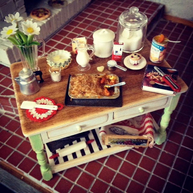 Miniature Country Kitchen Baking Table By Kimsminibakery