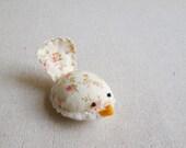 Handmade Pink and Cream Floral Fabric Bird Wren