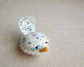 Handmade Decorative Bird in Blue Floral