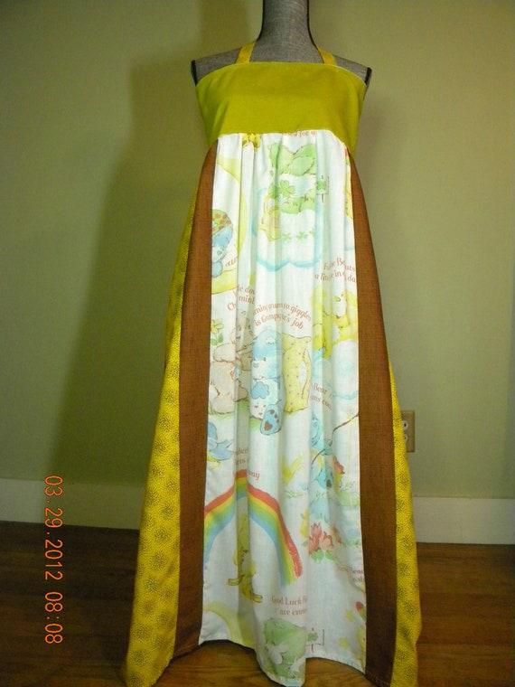 Vintage Care Bears Earthy Hippie Dress