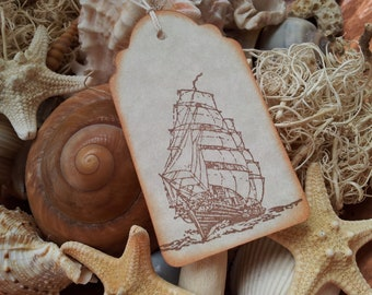 Nautical Ship Tags Vintage Inspired Set of 6