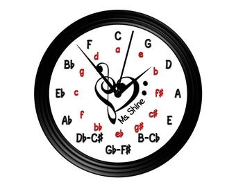Circle of Fifths Wall Clock, Personalized Wall Clock, Music Wall clock, Music teacher gift, Choir director gift, Piano teacher gift