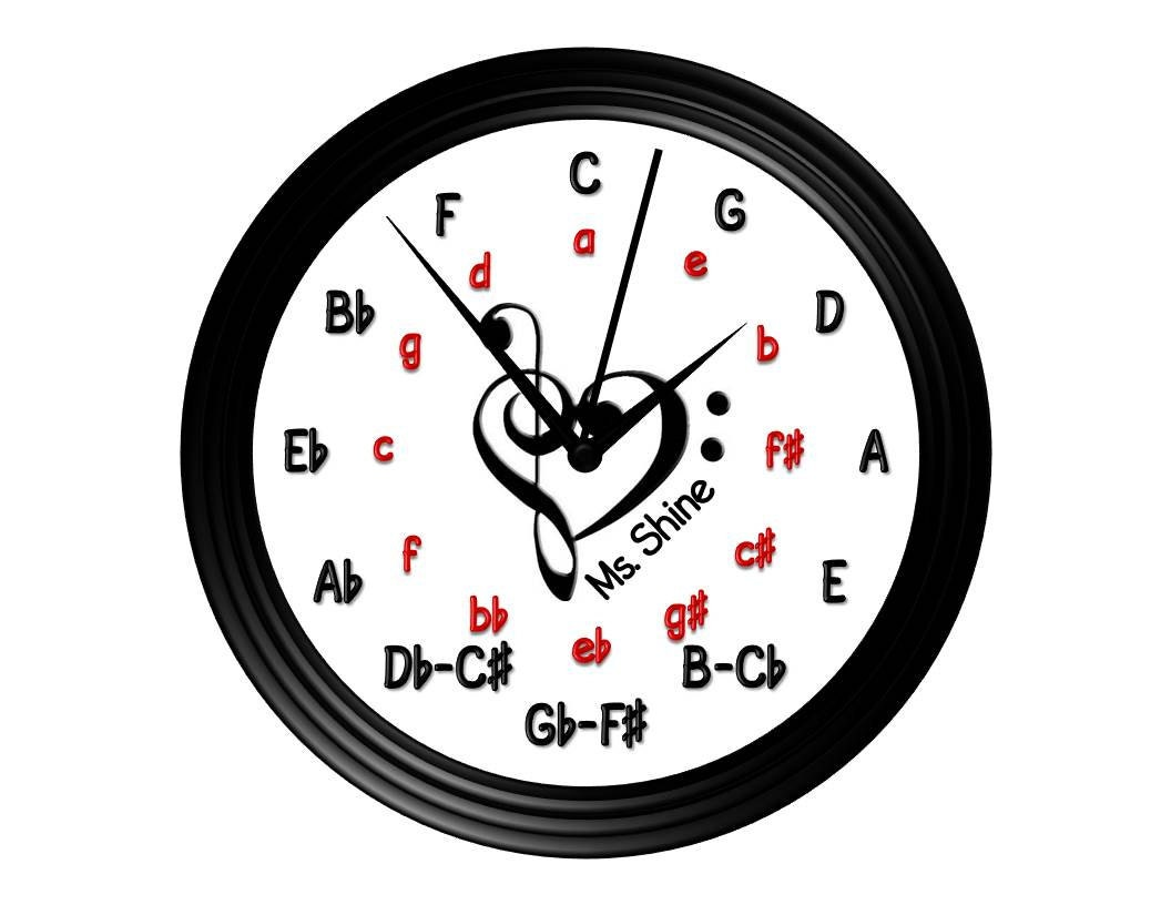 Circle of fifths wall clock personalized wall clock music zoom amipublicfo Images
