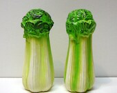 Vintage Salt and Pepper Shakers Pottery Celery Green White Japan Kitchen Collectible Cooking