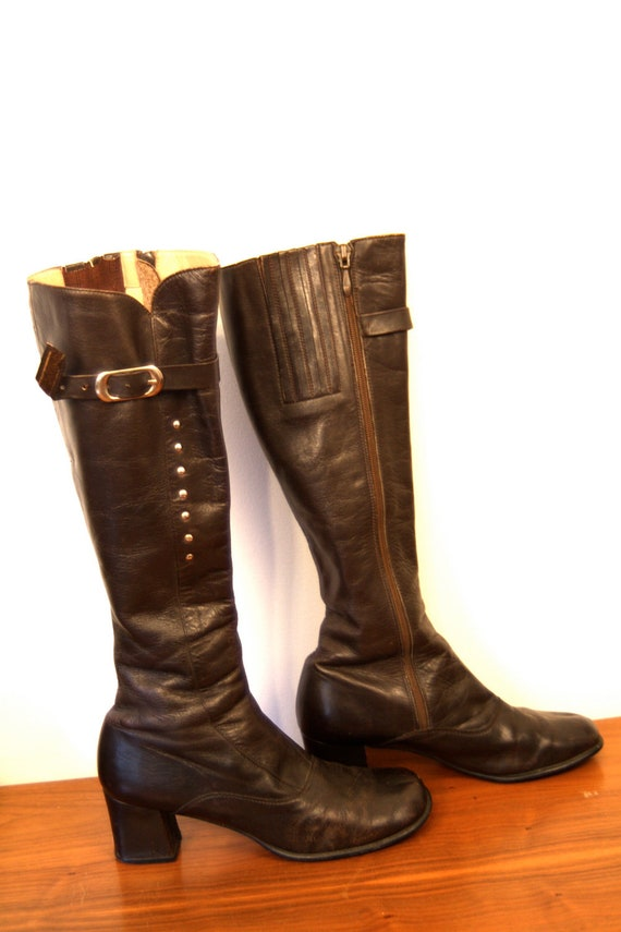Vintage 60's Tall Buckle Go-Go Boots Chocolate Brown Leather Knee High Stud Reto High Heel 1960's Shoes Size 8.5