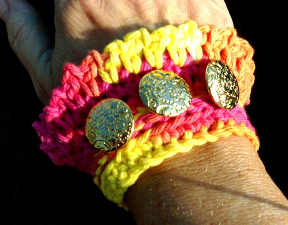 Discount Item, Colorful CROCHETED CUFF BRACELET, Yellow, Pink, Orange, with gold tone buttons, Was 14.50, Now just 8.70, RedRobinArt