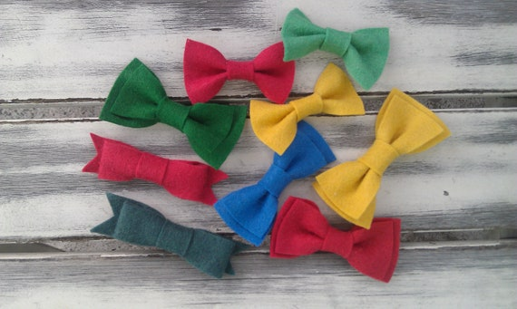 Primary wool felt baby bows