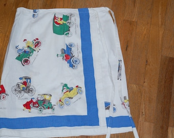 wrap skirt from vintage tablecloth antique cars