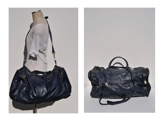 vintage leather duffle bag carry on LARGE tote shoulder luggage bag overnight duffle duffel