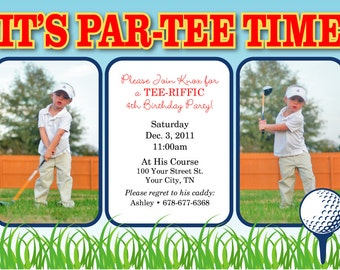 Personalized Golf Birthday Party 2 Photos Invitation Design