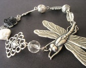 Silver Dragonfly Bracelet with White Pearls and Sterling Silver Filigree - Dragonfly Jewelry