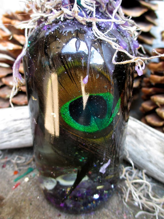 Rita's Peacock Totem Hoodoo Witch Bottle - New Opportunity for Growth and Spiritual Healing