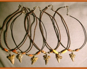 Wholesale.  6 Rare Bakersfield CA. Shark tooth  necklaces. Ma 22