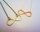 LAST ONE. Friends forever necklaces, set of two. Infinity sign. Matte gold charm, dark gold toned chain. For best friends. Figure eight.