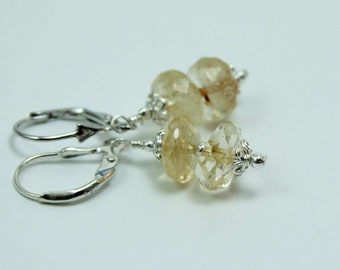 Faceted Yellow Citrine Gemstone Earrings on Sterling Silver Leverbacks