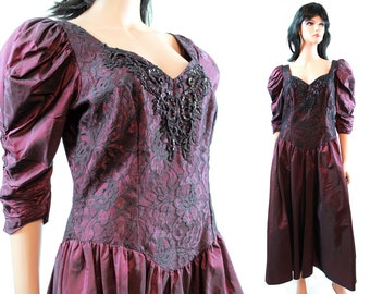 80s Prom Dress - Vintage Plum Purple Taffeta Black Lace Formal Gown Sequins Beads Size M Medium FREE US Shipping