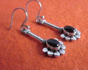 Black Onyx Sterling Silver  Earrings / Bali handmade jewelry / silver 925 / 1.85 inch long