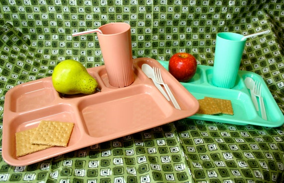 Vintage Lunch / Snack Trays (2 sets)