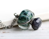 Blue Specrolite and Ocean Blue Glass Bead Wire Wrapped in Sterling Silver on Sterling Chain - Medusa