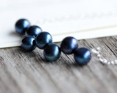 Blue Pearl Necklace Midnight Blue Freshwater Pearls on Sterling Silver Chain - Nightingale - JarosDesigns