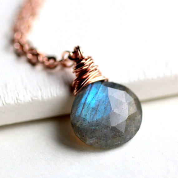 Labradorite Necklace Rose Gold Wire Wrapped Blue Flash Labradorite Gemstone on Rose Gold Chain - Clash of the Titans