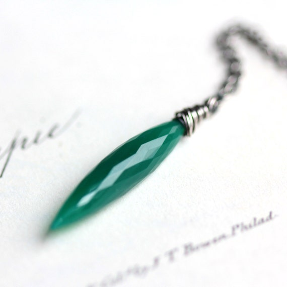 Green Necklace - Green Onyx Marquise Cut Pendant Necklace on Sterling Silver - Spire - Pantone Emerald Green Luxury Gift Under 100
