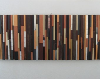 Wood and Metal Abstract Wall Art - Modern Wood Sclupture - Textured Wall Art - Reclaimed Wood