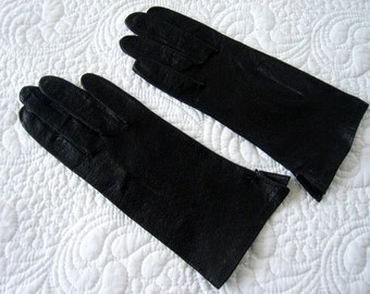 GLOVES Vintage NEW Dress Up Costume Authentic Retro Black Alligator Ostrich Leather Pair