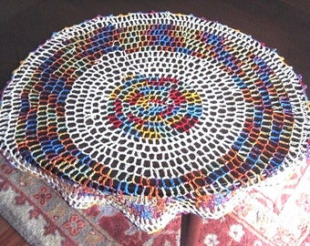 RUNNER Table Dresser Scarf Doily Colorful Large Rainbow Rings Crocheted Lace