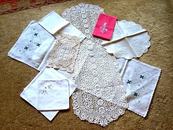 LINEN LOT Tablecloth Runner Doily Vintage Towel Lace doily napkin hankie selection