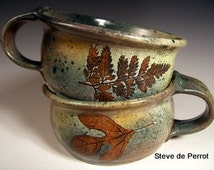 Soup mugs, soup crock, latte cup, tea cup with green leaf impressions