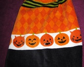Halloween Pumpkins Crocheted Top Hanging Kitchen Towel