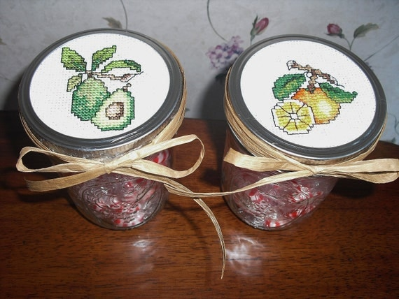 Mason Jar with Counted Cross Stitch Top/Set of 2