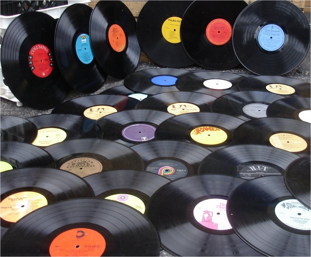 Lot of 50 vintage vinyl records for crafts perfect by for What to do with old vinyl records