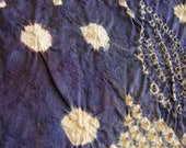 Silk japanese kimono fabric shibori tie dyed aubergine purple & navy blue. Price per 65cm panel (3 panels available)