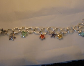 Girls Stars, Flowers and Buterflies Charm Bracelet