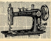 """Vintage Book Print """"Sewing Machine"""" Upcycled Recycled Antique Book Print - Victorian Shabby Sewing Room Decor"""