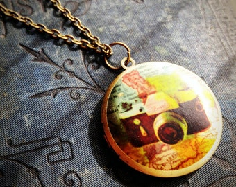 Locket Necklace - Vintage Camera - Vintage Illustration - Antique Map - Colorful Bright - Upcycled Salvage Jewelery