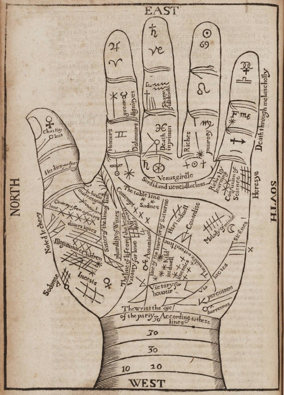 """Antique Print Hand """"Fortune Teller's Hand"""" Steampunk Gothic Victorian Gypsy Circus Carnival"""