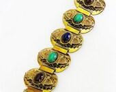 Glass Cabochon Cuff Bracelet
