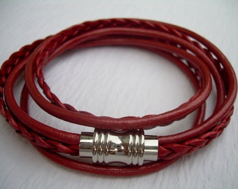 Womens Red Leather Bracelet with Stainless Steel Magnetic Clasp - Double Wrap, Womens Bracelet, Womens Jewelry, Leather Bracelet
