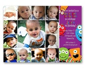 Monster Mash First Birthday Invitation - a photo collage of your baby's first year (No. 21006)