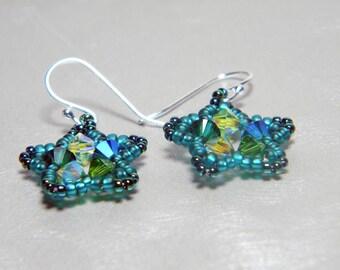 """Absinthe Green Swarovski Star Earrings Beadweaving Sterling Silver Ear Wires  - """"La Fée Verte"""""""