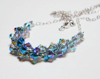"Mermaid Green Swarovski Crystal Necklace Beadweaving Sterling Silver - ""Nereid"""