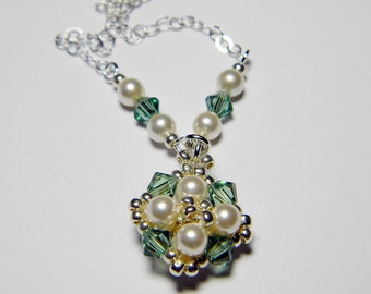 "Custom Color Glass Pearl and Swarovski Crystal AB Necklace Silver Seed Beads Beadweaving Sterling Silver - ""Audrey"""