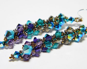 "Peacock Swarovski Long Crystal Earrings Jet 2X AB, Blue Zircon, Purple Velvet, Sterling Silver - ""Ombre dOiseaux"""