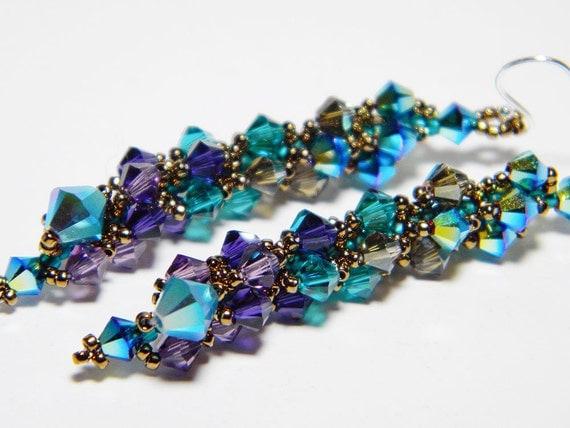 """Peacock Swarovski Long Crystal Earrings Jet 2X AB, Blue Zircon, Purple Velvet, Sterling Silver - """"Ombre dOiseaux"""""""