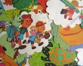 Scalloped Round Die Cuts Sesame Street People in My Family From Vintage Children's Book Muppets