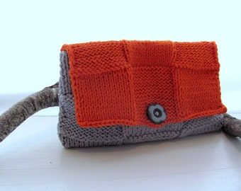 Cluch-OraNge GrAy---- CoTTon-Gray Button- Great gift for her--handmade-Chrsitmas gift